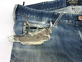 ジーンズのポケット修理