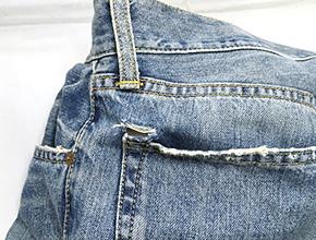 ジーンズのポケットの破れ修理